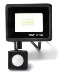 Naświetlacz LED 10W z czujnikiem ruchu halogen barwa biała zimna 6000K